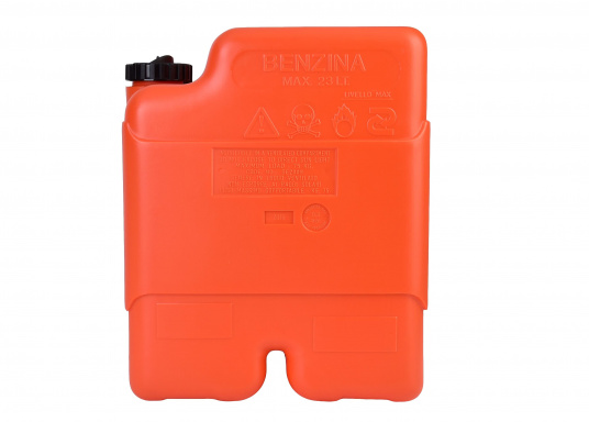 Stabiler 23 l Tankaus widerstandsfähigem Kunststoff für Außenborder. Ein transparenter Streifen an der Seite erlaubt eine schnelle Inhaltskontrolle,eine integrierte Reserve-Kraftstoffkammer erhöht die Betriebssicherheit.  (Bild 2 von 3)