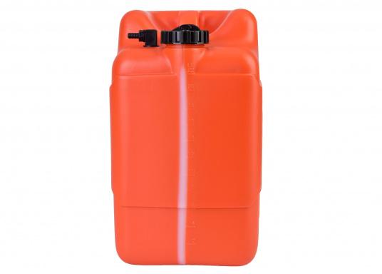 Stabiler 23 l Tankaus widerstandsfähigem Kunststoff für Außenborder. Ein transparenter Streifen an der Seite erlaubt eine schnelle Inhaltskontrolle,eine integrierte Reserve-Kraftstoffkammer erhöht die Betriebssicherheit.  (Bild 3 von 3)
