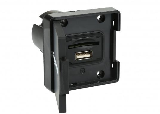 Das SD-Kartenlesegerät RCR von Raymarine verfügt über einen externen microSD-Steckplatz sowie eine USB-Buchse. Passend für die Axiom und Axiom Pro Serie von Raymarine. Kabellänge: 1 m.