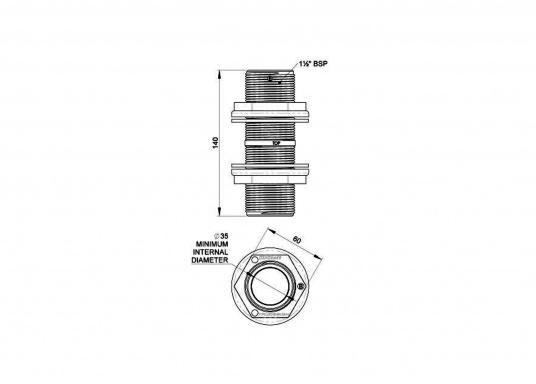 Durchbruch-Gewinderohr aus glasfaserverstärktem Kunststoff. Lieferbar in zwei verschiedenen Größen.Gewindelänge: 140 mm. (Bild 5 von 5)