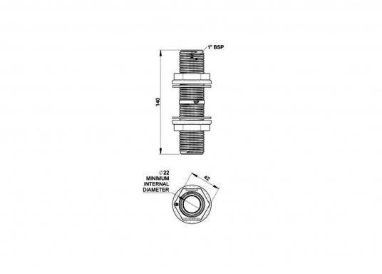 Durchbruch-Gewinderohr aus glasfaserverstärktem Kunststoff. Lieferbar in zwei verschiedenen Größen.Gewindelänge: 140 mm. (Bild 4 von 5)