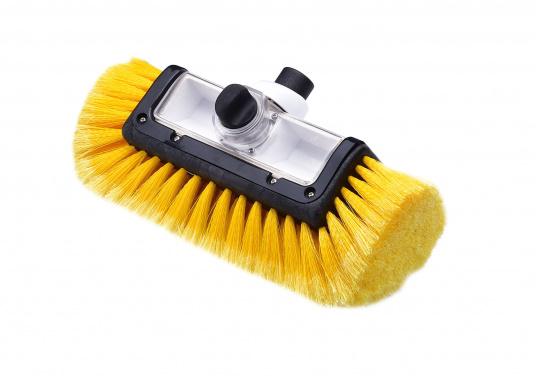 Praktischer Waschbürstenkopf, mit Seitenborsten und Shampoodosierer.