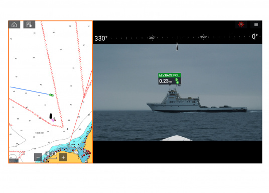Make intelligent and informed decisions while sailing with Raymarine's Augmented Reality feature. The function enhances awareness by displaying navigation objects directly on a compatible multifunction display in high-definition (HD) quality. Compatible with devices with software version Lighthouse 3.7 or higher. Supplied with camera CAM210. (Afbeelding 4 of 7)
