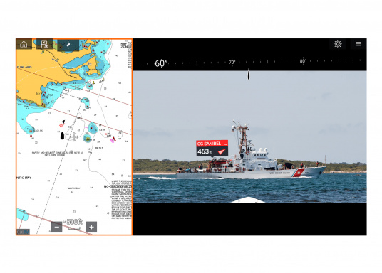 Make intelligent and informed decisions while sailing with Raymarine's Augmented Reality feature. The function enhances awareness by displaying navigation objects directly on a compatible multifunction display in high-definition (HD) quality. Compatible with devices with software version Lighthouse 3.7 or higher. Supplied with camera CAM210. (Afbeelding 5 of 7)