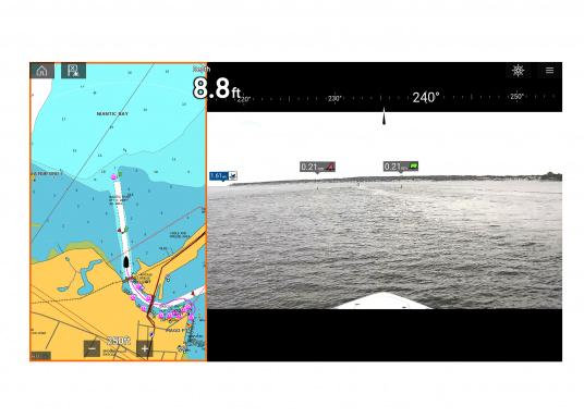 Make intelligent and informed decisions while sailing with Raymarine's Augmented Reality feature. The function enhances awareness by displaying navigation objects directly on a compatible multifunction display in high-definition (HD) quality. Compatible with devices with software version Lighthouse 3.7 or higher. Supplied with camera CAM210. (Afbeelding 6 of 7)