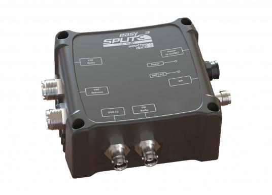 Multifunktionaler UKW Antennensplitter easySPLIT3-IS-IDVBT von weatherdock für die Auftrennung von UKW Sprechfunk, AIS und DVB-T2, FM Radio sowie DAB+ Signalen.