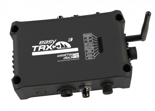 Der Class B AIS-Sender/Empfänger easyTRX3 von Weatherdock überzeugt mit neusten Innovationen: 5 W Sendeleistung, schnellere Übertragungsrate der AIS Protokolle und SOTDMA-Technologie. Der AIS-Transceiver besteht aus einem robusten, kompakten und wasserdichten Gehäuse und gewährleistet, dass permanent parallel auf beiden AIS-Frequenzen gesendet und empfangen wird. Das Gerät verfügt über einen integrierten Splitter, einer integrierten GPS- und WiFi-Antenne sowie einen LAN-Anschluss.