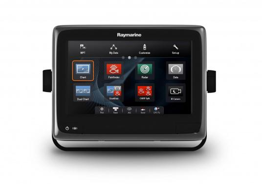 Raymarine's a98 WiFi multifunction display offers the speed and simplicity of LightHouse II in a fast and fluid touch screen experience. With extensive networking options, it will put you in control of charts, sonar, radar and more. The included CPT-100DVS transom transducer provides photorealistic underwater images. (Image 3 of 11)