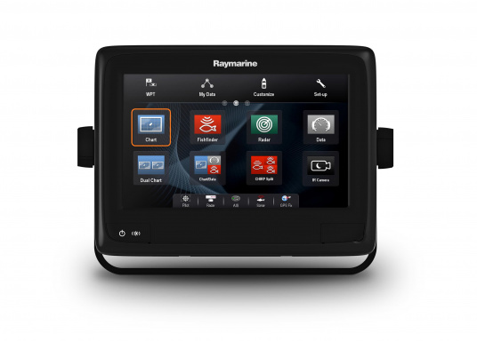 Raymarine's a98 WiFi multifunction display offers the speed and simplicity of LightHouse II in a fast and fluid touch screen experience. With extensive networking options, it will put you in control of charts, sonar, radar and more. The included CPT-100DVS transom transducer provides photorealistic underwater images. (Image 4 of 11)