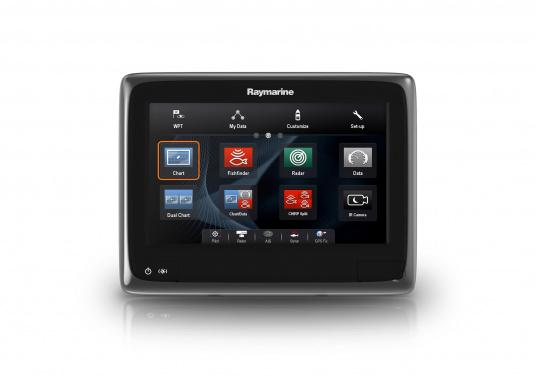 Raymarine's a98 WiFi multifunction display offers the speed and simplicity of LightHouse II in a fast and fluid touch screen experience. With extensive networking options, it will put you in control of charts, sonar, radar and more. The included CPT-100DVS transom transducer provides photorealistic underwater images. (Image 5 of 11)