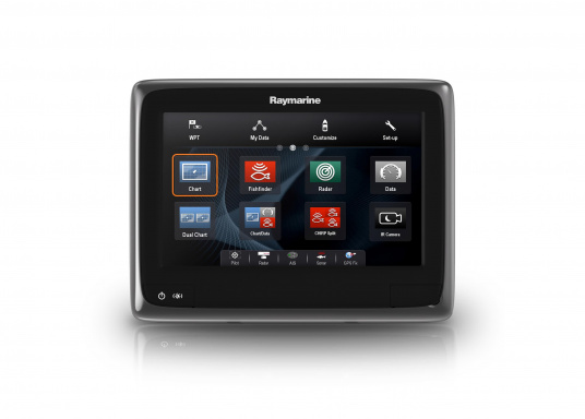 Raymarine's a98 WiFi multifunction display offersthe speed and simplicity of LightHouse II in a fast and fluid touch screen experience.With extensive networking options, it will put you in control of charts, sonar, radar and more. The includedCPT-100DVS transom transducer provides photorealistic underwater images. (Image 5 of 11)