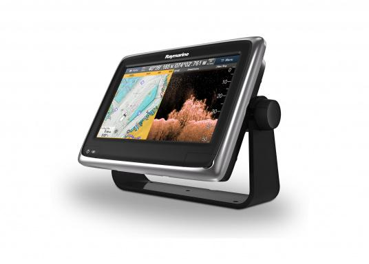 Raymarine's a98 WiFi multifunction display offers the speed and simplicity of LightHouse II in a fast and fluid touch screen experience. With extensive networking options, it will put you in control of charts, sonar, radar and more. The included CPT-100DVS transom transducer provides photorealistic underwater images. (Image 6 of 11)
