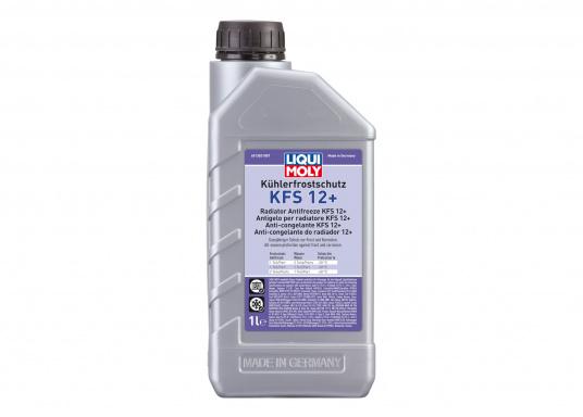 Der Kühler - Frostschutz KFS 12+ von LIQUI MOLY bietet hervorragenden Schutz vor Frost, Korrosion sowie Überhitzung. Die Wirkstoffkombination auf Basis von Ethylenglykol ist speziell für moderne Aluminium-Hochleistungsmotoren geeignet und ergibt in einem abgestimmten Mischungsverhältnis mit Wasser einen sicheren und ganzjährigen Farzeugbetrieb. Freigabe für Volvo Penta, Yanmar Diesel Motoren und viele mehr.