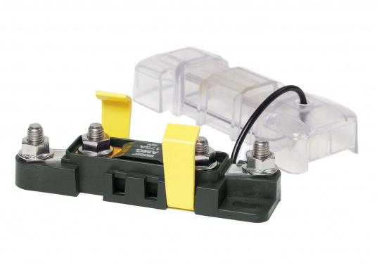 MEGA-Sicherungshalter und -Sicherungen sind ideale Komponentenzur Absicherung von Geräten und Leitungen bei hohen Nennströmen. Dieser Sicherungshalter ist enorm robust und aufgrund derhochwertigen Materialien und der ISO 8846 / EN 28846 Norm in Motorräumen einsetzbar. MEGA-Sicherungen sind separat erhältlich.