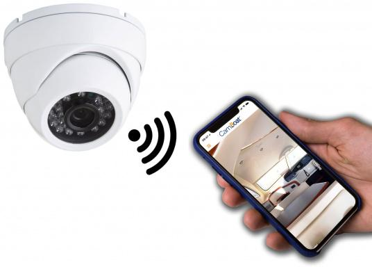 With the Glomex CamBoat WiFi surveillance camera, you can remotely monitor your surroundings from any location, at any time. This ensures safety, peace of mind and privacy throughout. (Imagen 2 de 9)