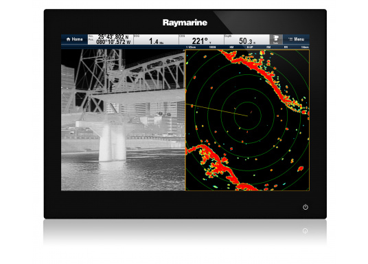The Raymarine Glass Bridge series is a powerful chartplotter in an elegant design. The gS165 multifunction display features a fast dual-core processor and a third graphics processor for exceptionally fast image composition. The integrated WiFi and Bluetooth module allows you to connect the chartplotter to a variety of devices. (Afbeelding 2 of 18)