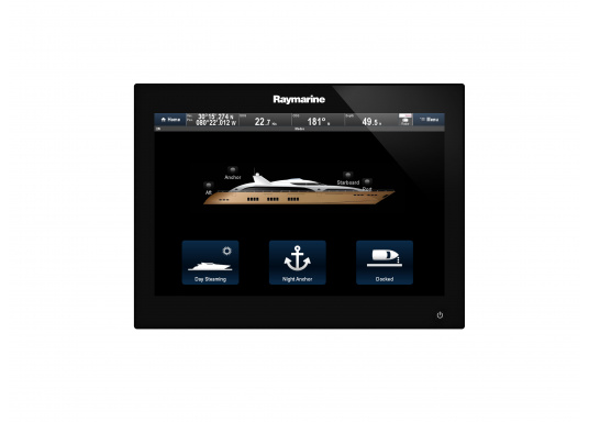 The Raymarine Glass Bridge series is a powerful chartplotter in an elegant design. The gS165 multifunction display features a fast dual-core processor and a third graphics processor for exceptionally fast image composition. The integrated WiFi and Bluetooth module allows you to connect the chartplotter to a variety of devices. (Imagen 5 of 18)