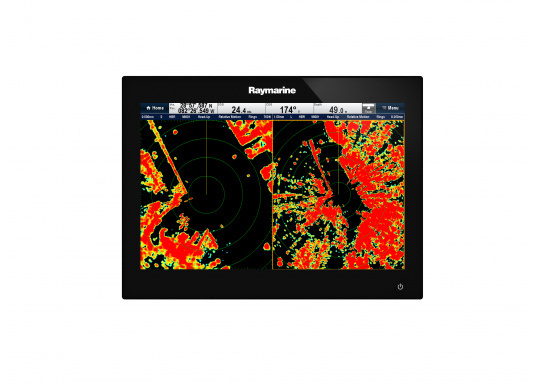 The Raymarine Glass Bridge series is a powerful chartplotter in an elegant design. The gS165 multifunction display features a fast dual-core processor and a third graphics processor for exceptionally fast image composition. The integrated WiFi and Bluetooth module allows you to connect the chartplotter to a variety of devices. (Imagen 3 of 18)