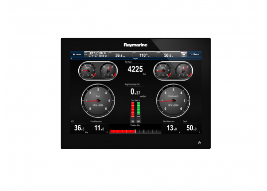 The Raymarine Glass Bridge series is a powerful chartplotter in an elegant design. The gS165 multifunction display features a fast dual-core processor and a third graphics processor for exceptionally fast image composition. The integrated WiFi and Bluetooth module allows you to connect the chartplotter to a variety of devices. (Afbeelding 4 of 18)