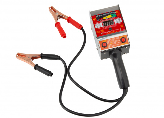 This digital battery tester not only measures the voltage, but can also perform a load test to check that the battery is working properly.