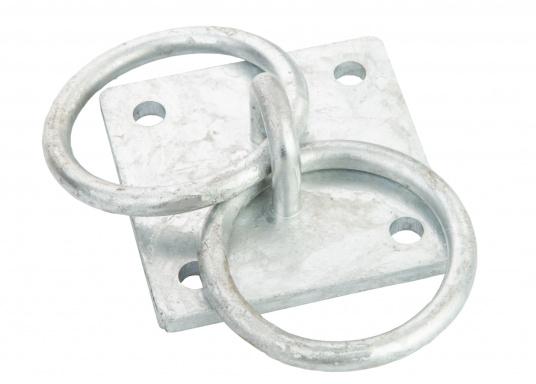 Der Mooring verfügt über zwei Ringe und besteht aus stabilen verzinkten Stahl.