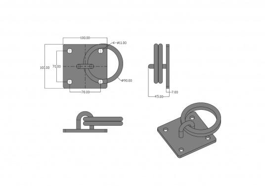 Der Mooring verfügt über zwei Ringe und besteht aus stabilen verzinkten Stahl. (Bild 4 von 4)