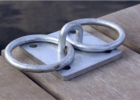 Der Mooring verfügt über zwei Ringe und besteht aus stabilen verzinkten Stahl. (Bild 3 von 4)