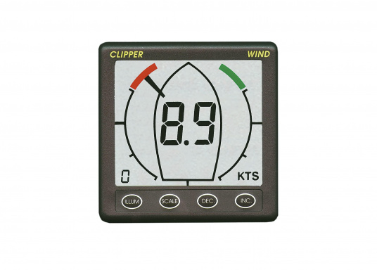 The CLIPPER Wind V2 provides a graphical 360° display of the wind direction. Wind speed can be displayed in knots, m/s or Mph. Selectable pointer style, adjustable damping of wind speed.