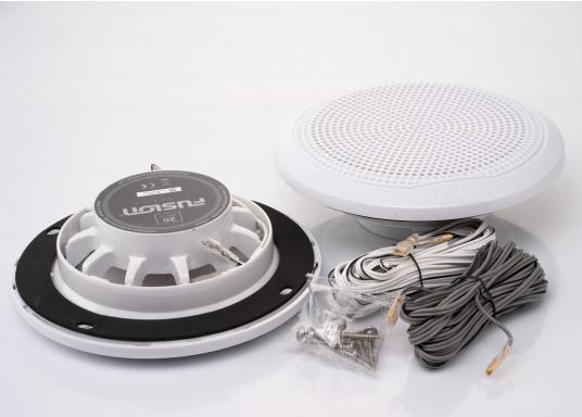 Die neu konzipierten Marine-Lautsprecher EL-F651 von FUSION wurden bieten eine hochwertige Audiowiedergabe und sind optiomal für maritime Umgebungen geeignet. Das flache Design bietet eine Vielzahl an Montagemöglichkeiten. Farbe: weiß. (Bild 5 von 5)