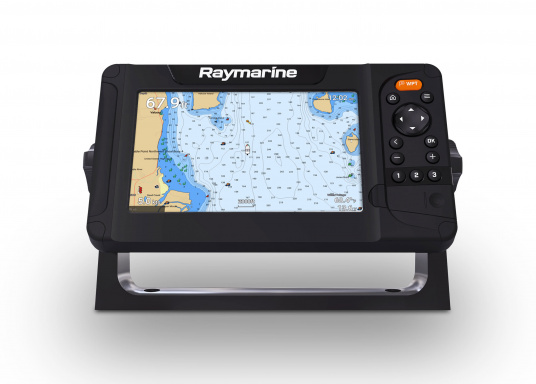 "Smart 7"" multifunction display with user-friendly interface, integrated GPS antenna and built-in CHIRP sonar module. A touch screen was deliberately omitted from this Raymarine plotter, as the classic button controls in connection with the Raymarine Lighthouse Sport operating system make for intuitive and precise control of the device, even at high speeds and strong seas."