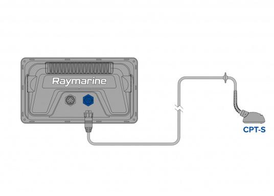 """Smartes 9""""-Multifunktionsdisplay mit benutzerfreundlicher Bedienoberfläche und integrierter GPS-Antenne.Auf einen Touchscreen wurde bewusst verzichtet, da die klassische Tastenbedienung in Verbindung mit der Raymarine LightHouse Sport Oberfläche auch bei schnellen Fahrten und starken Seegang für eine intuitive und präzise Bedienung des Gerätes sorgt. (Bild 5 von 5)"""