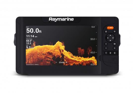 """Smartes 9""""-Multifunktionsdisplay mit benutzerfreundlicher Bedienoberfläche und integrierter GPS-Antenne. Eine klassische Tastenbedienung und die Raymarine LightHouse Sport Oberfläche sorgen für eine intuitive Bedienung des Geräts. Mit eingebauter HyperVision-Sonartechnologie für eine herausragende Bildqualität der Unterwasserwelt. Lieferung inklusive HV-100 Geber. (Bild 6 von 10)"""