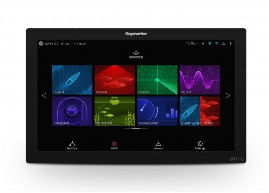 Das absolute Highlight unter den Multifunktionsdisplays! Das Premium-Display AXIOM XL von Raymarine bietet eine nahtlose, flächenbündige Integration in moderne Steuerstände und überzeugt mit überragender Performance, einem großen Display und stilvoller Schlichtheit. Das hochwertige Vollglasdisplay verfügt über eine große Vielfalt an Anschlussmöglichkeiten mit denen Radarantennen, CHIRP- und 3D-Sonarmodule problemlos integriert werden können. (Bild 3 von 6)