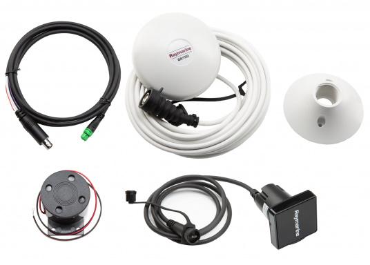 Die perfekte Ergänzung zu Ihrem Axiom XL-Display von Raymarine. Das Zubehör-Kit enthält:   1x GPS-Antenne GA150  1x SD-Kartenleser  1x Alarmsummer