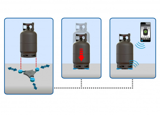 """The """"Senso4s"""" level monitor measures the current level and enables an oversight of capacity, as well as a predicted consumption. The Senso4s can easily be paired to your Smartphone/Tablet via Bluetooth. For all conventional gas cylinders with a fill weight of e.g. 5, 8 and 11 kg. (Image 2 of 7)"""