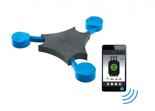 """Der Füllstandsanzeiger """"Senso4s"""" misst den aktuellen Füllstand und gibt den Inhalt sowie eine Verbrauchsprognose an. Durch die Bluetooth-Funktion kann der Senso4s einfach mit Ihrem Smartphone/Tablet verbunden werden. Für alle gängigen Gasflaschen mit einem Fühllgewicht von z.B. 5, 8 und 11 kg."""