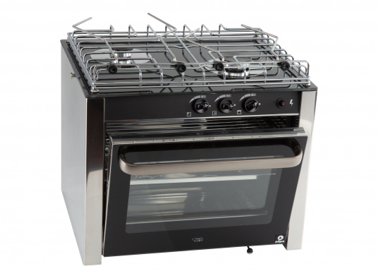 Design, quality and performance. This high quality RVS gas oven has two burners and is made of robust stainless steel. Its black thermal glass surface gives it a visually appealing design. Suitable for fixed or half-gimbal installation.