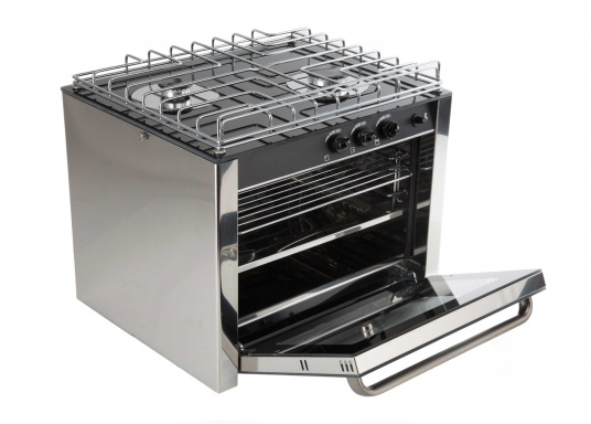 Design, quality and performance. This high quality RVS gas oven has two burners and is made of robust stainless steel. Its black thermal glass surface gives it a visually appealing design. Suitable for fixed or half-gimbal installation. (Image 5 of 6)