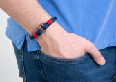 SHEET Watterkant Wristband / navy blue/red