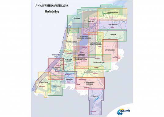 Seekarten für verschiedenen Fahrtgebiete in den Niederlanden, mit detaillierten nautischen Informationen, Brückennummern und Übersichtskarten zu den wichtigsten Häfen und Plätzen.  (Bild 17 von 19)