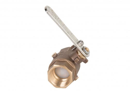 Bronze ball valve. To prevent frost damage, the water contained in the ball valve can be easily drained through the drainage hole.  (Imagen 1 of 4)