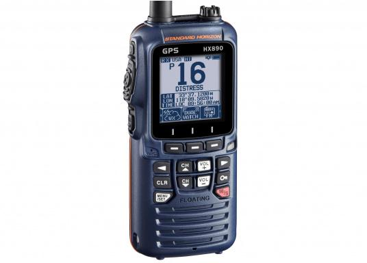 """UKW-DSC-Handsprechfunkgerät mit integriertem GPS-Empfänger. Ein robustes und ergonomisches Gehäusedesign sowie ein 2,3"""" Display sorgen für einen herausragenden Bedienkomfort. Farbe: marineblau. (Bild 2 von 5)"""