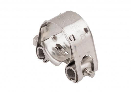 Schwere Ausführung– diese extrem stabilen Schlauchschellen bestehen komplett aus Niro W 1.4301. Die Schellen sind speziell geeignet für Abgas-, Spiral- und Fäkalienschläuche. Lieferbar in verschiedenen Größen.  (Bild 4 von 19)