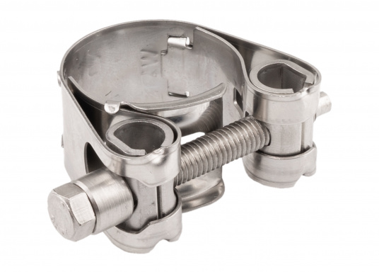 Schwere Ausführung– diese extrem stabilen Schlauchschellen bestehen komplett aus Niro W 1.4301. Die Schellen sind speziell geeignet für Abgas-, Spiral- und Fäkalienschläuche. Lieferbar in verschiedenen Größen.  (Bild 5 von 19)