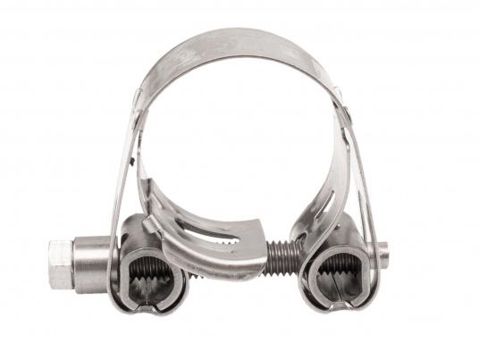 Schwere Ausführung– diese extrem stabilen Schlauchschellen bestehen komplett aus Niro W 1.4301. Die Schellen sind speziell geeignet für Abgas-, Spiral- und Fäkalienschläuche. Lieferbar in verschiedenen Größen.  (Bild 6 von 19)