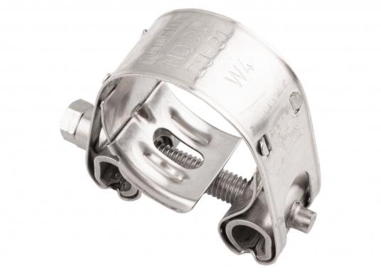 Schwere Ausführung– diese extrem stabilen Schlauchschellen bestehen komplett aus Niro W 1.4301. Die Schellen sind speziell geeignet für Abgas-, Spiral- und Fäkalienschläuche. Lieferbar in verschiedenen Größen.  (Bild 7 von 19)