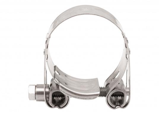 Schwere Ausführung– diese extrem stabilen Schlauchschellen bestehen komplett aus Niro W 1.4301. Die Schellen sind speziell geeignet für Abgas-, Spiral- und Fäkalienschläuche. Lieferbar in verschiedenen Größen.  (Bild 9 von 19)