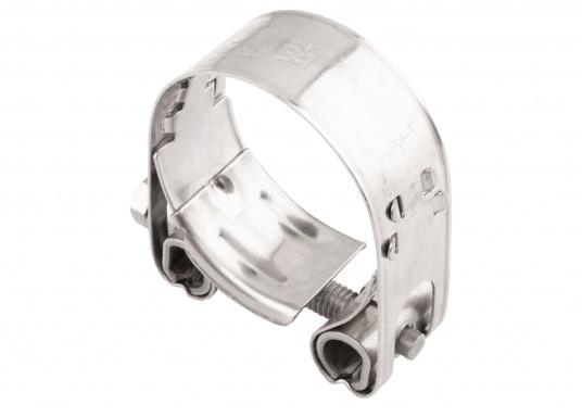 Schwere Ausführung– diese extrem stabilen Schlauchschellen bestehen komplett aus Niro W 1.4301. Die Schellen sind speziell geeignet für Abgas-, Spiral- und Fäkalienschläuche. Lieferbar in verschiedenen Größen.  (Bild 10 von 19)