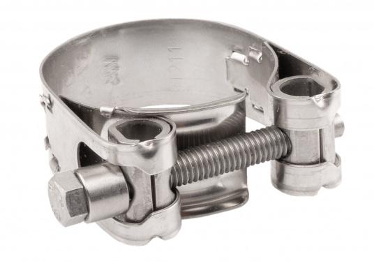 Schwere Ausführung– diese extrem stabilen Schlauchschellen bestehen komplett aus Niro W 1.4301. Die Schellen sind speziell geeignet für Abgas-, Spiral- und Fäkalienschläuche. Lieferbar in verschiedenen Größen.  (Bild 11 von 19)