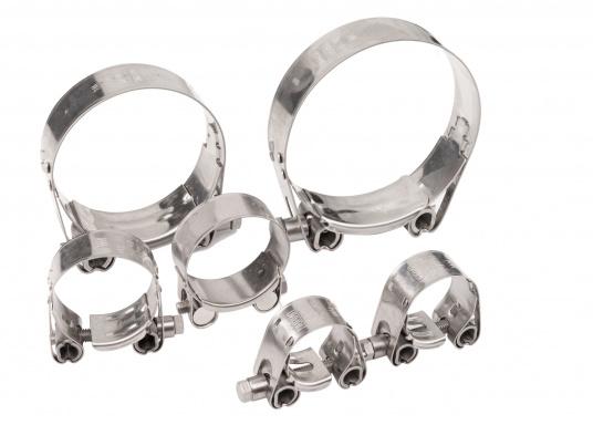 Schwere Ausführung– diese extrem stabilen Schlauchschellen bestehen komplett aus Niro W 1.4301. Die Schellen sind speziell geeignet für Abgas-, Spiral- und Fäkalienschläuche. Lieferbar in verschiedenen Größen.